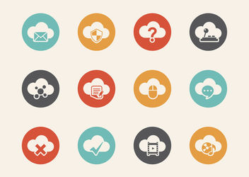 Cloud Computing Retro Icon Set - Free vector #180359