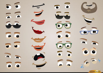 Eyes and mouths expressions set - Free vector #180479
