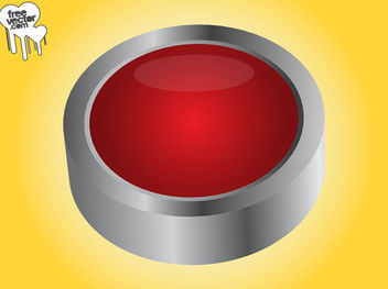 Grey Rim Red 3D Button - vector gratuit(e) #180609