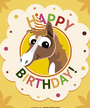 Birthday cartoon horse card - vector #180709 gratis
