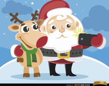 Cartoon Santa and reindeer selfie - vector gratuit #180739