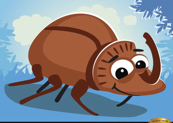 Cartoon rhinoceros beetle bug on grass - бесплатный vector #180779