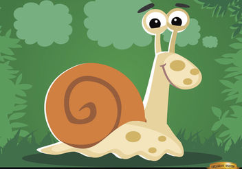 Funny cartoon Snail on the grass - бесплатный vector #180789