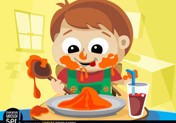 Child messy eating - vector #180909 gratis