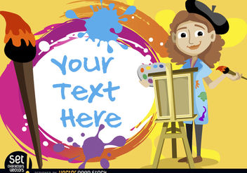 Artist girl with painted text - Free vector #180989