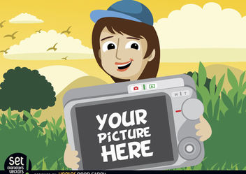 Cartoon girl showing photo in camera - vector gratuit #181009