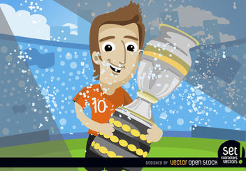 Footballer with soccer cup trophy - Free vector #181019