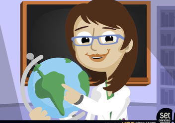 Female professor pointing at world globe - vector gratuit #181049