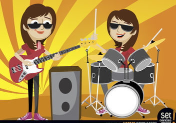 Girls performing with bass and drums - Free vector #181059