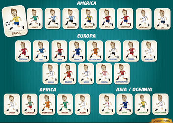 Cartoon football players teams Brazil 2014 - Free vector #181069