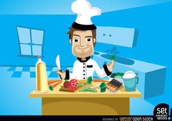 Chef cooking on kitchen table - vector gratuit #181079
