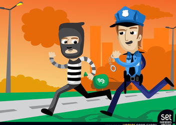 Policemen Catching a Bank Robber - vector gratuit #181089
