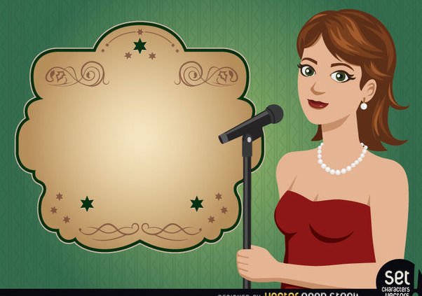 Young Girl Singer with Ad Message - Free vector #181099