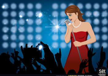 Girl Singing In a Concert - Free vector #181109