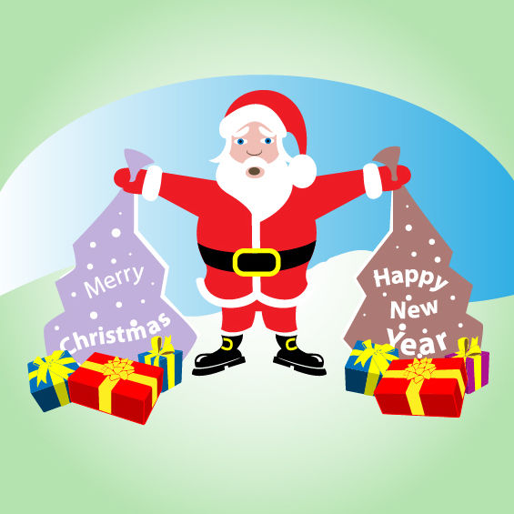 Comic Santa Claus with Xmas Presents - Free vector #181149