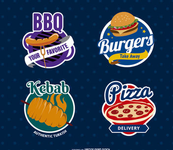 Food Restaurant Logo Seals - Kostenloses vector #181169