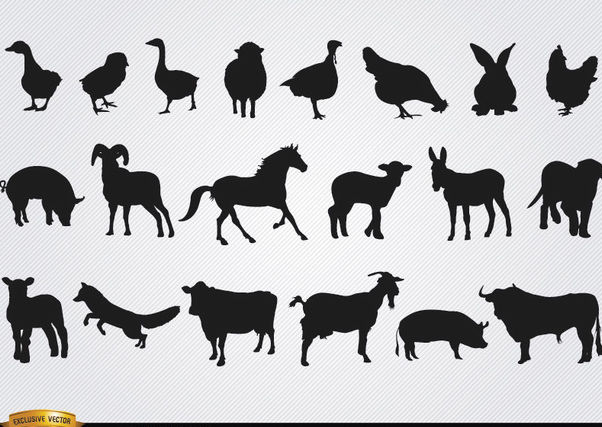Farm animals silhouettes set - Free vector #181279