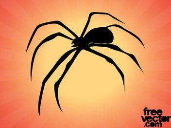 Spider Silhouette with Curvy Legs - Free vector #181309
