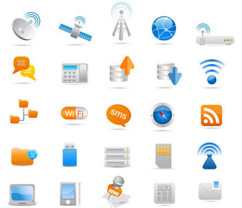 Glossy Communication Icon Set - Free vector #181449