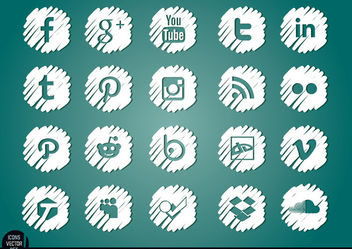 Social media distorted white icons set - Free vector #181459
