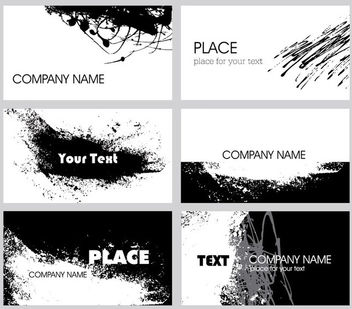 Black & White Grungy Business Card Pack - Free vector #181509