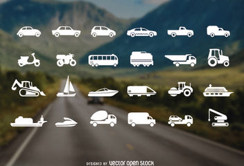 Vehicles Icon Set - vector gratuit #181549