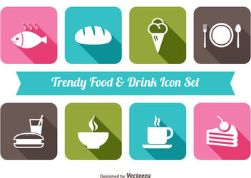 Flat Food & Beverage Icon Set - Kostenloses vector #181559
