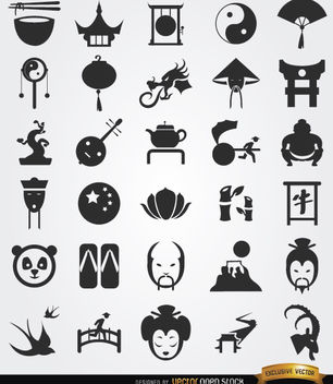 30 Chinese culture icons - Free vector #181639