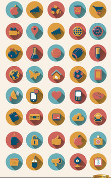 40 Round icons with drop shadow - Free vector #181669