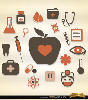 Medical health icons pack - Free vector #181679