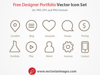 Designer Portfolio Outlined Icon Set - Free vector #181719