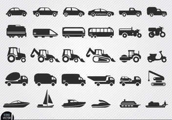 Vehicles and ships silhouettes icon set - Free vector #181729
