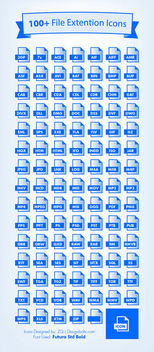 One Hundred Blue File Extension Icons - Free vector #181749