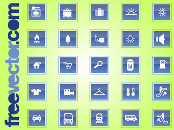 Travel & Transport Square Icon Set - vector gratuit #181779