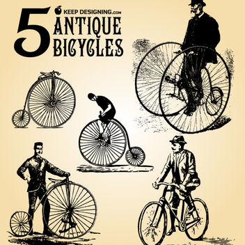 Grungy Antique Bicycle with Rider - Free vector #181819
