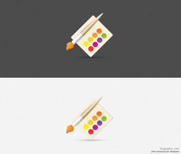 Watercolor Palette with Paint Brush - Free vector #182059