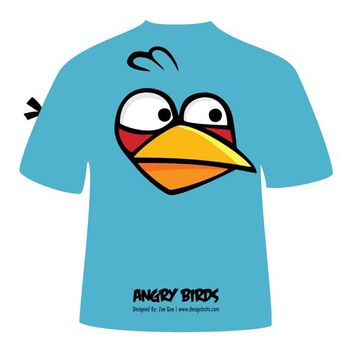 Blue Angry Bird T-Shirt - vector gratuit #182069