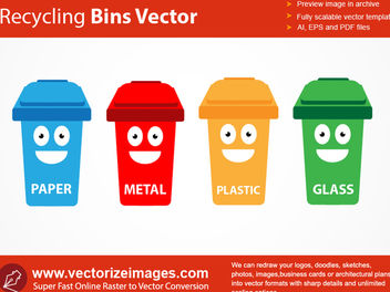 4 Funky Recycle Bin Containers - vector gratuit #182089