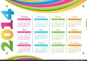 2014 calendar - Colourful Waves - Free vector #182239