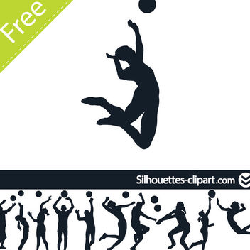 Male Female Volleyball Player Pack Silhouette - Free vector #182319