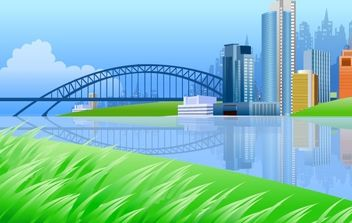 City on river side with a bridge - vector gratuit #182439