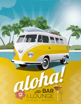 Tropical holidays bar poster - Free vector #182449