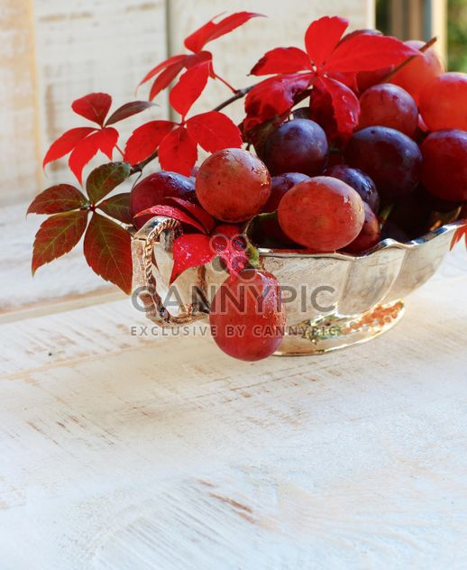 ripe grapes on the white table - Free image #183349