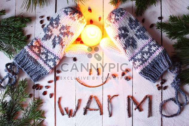 Wool mittens and candle - Free image #183729
