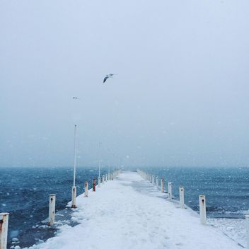 Sea and pier covered with snow - image #183939 gratis