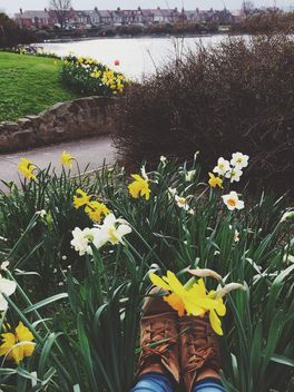 Feet in boots and narcissus flowers - image #183959 gratis