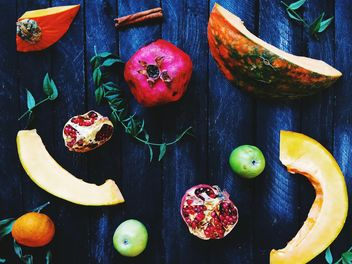 Fruits on wooden background - бесплатный image #186229