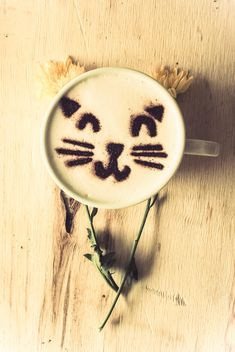 Coffee latte with cat art - image gratuit #187009