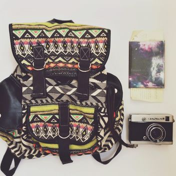 Camera, passport and backpack - Kostenloses image #198369