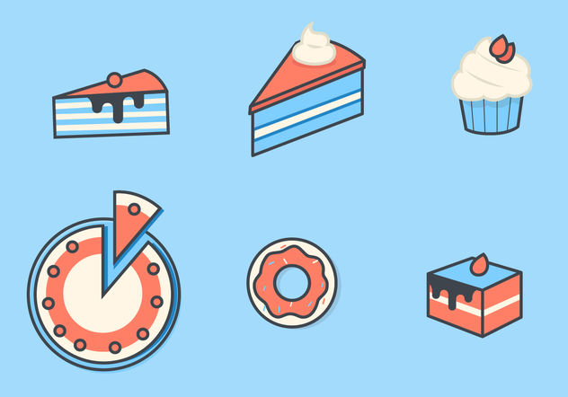 Cake and Dessert Vector Icon Set - Free vector #199209